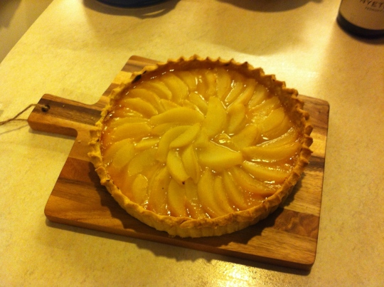 Pear and passionfruit tart